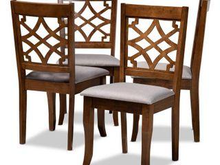 Set of 4 Mael Fabric Upholstered Wood Dining Chairs Gray Walnut   Baxton Studio