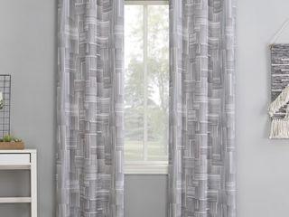 2 84 x40  Tatsu Modern Grid Semi Sheer Grommet Curtain Panel Gray   No 918