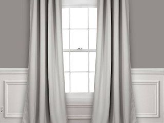 Set of 2  120 lx52  Insulated Grommet Top Blackout Curtain Panels light Gray   lush Decor