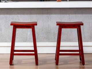 Tylora 24 inch Saddle Seat Bar Stools  Set of 2  Retail 171 99