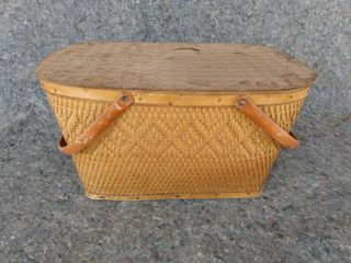 vintage picnic basket woven basket with metal handles