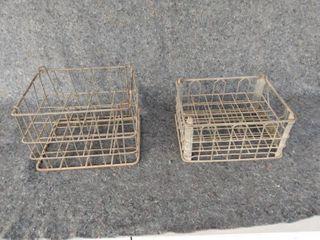 two metal wire racks