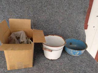 meat grinder and enamel bowls
