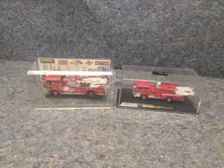 Pair of Collectible Model Fire Engines