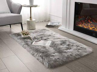 Grey Fuzzy Floor Mat