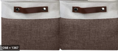 Tan and Grey linen Storage Baskets