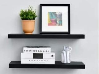 2 Floating Black Shelves