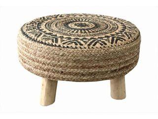 Gillian Geometric Jute Round Stool with Wooden legs Retail 107 49