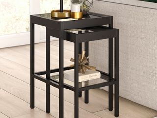 Alexis Metal  amp  Tempered Glass Nesting Tables Retail 165 99