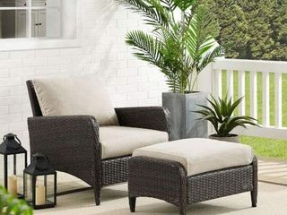 Kiawah 2Pc Outdoor Wicker Chair Set OTTOMAN ONlY Retail 439 99