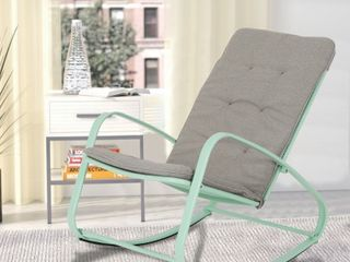 Sophia and William Outdoor Patio Rocking Chair Padded Steel Rocker Chairs Support 300lbs Retail 147 99