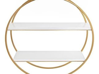 Kate and laurel Sequoia Wood and Metal Round Wall Shelf   White Gold   24  Diameter Retail  119 99
