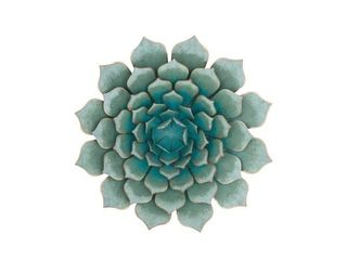 Modern 23 Inch Metallic Teal Iron Floral Wall Decor Retail  64 99