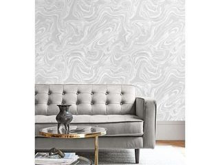 Seabrook Designs Oil and Water Metallic Pearl Unpasted Wallpaper 27in x 27ft  Retail 126 00