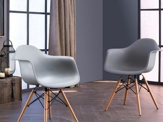 Siena Modern Dining Chairs with Wood legs by Corvus  Set of 2  Retail 143 49