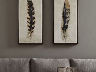 Urban Habitat Gilded Feathers Yellow Printed Canvas with Gold Foil 2 Piece Set Retail 92 49