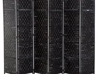 HomCom 6  Tall Wicker Weave Six Panel Room Divider Privacy Screen   Black Wood Retail 138 99