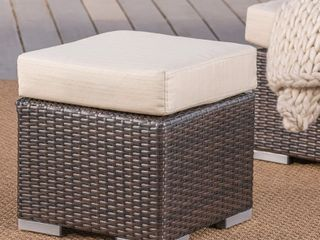 Santa Rosa Outdoor 16 inch Square Wicker Ottoman with Cushion by Christopher Knight Home  Retail 74 99