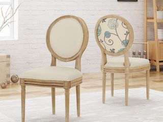 Phinnaeus Upholstered Farmhouse Dining Chairs  Set of 2  by Christopher Knight Home   natural   white  blue and beige cushion Retail  291 37