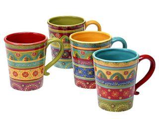 Certified International   Tunisian Sunset 18 oz  Mugs  Set of 4   Retail  42 99