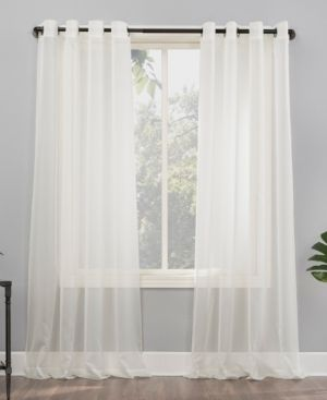 No  918 Emily Voile Sheer Grommet Curtain Panels  Set of 2  Retail   37 62