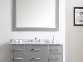 Florence 48  Rectangular Bathroom Vanity framed Wall Mirror in Grey   48 inches  Retail 229 99