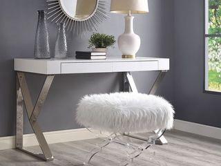Inspired Home Vicky FauxFur Ottoman Acrylic X leg Retail  243 00