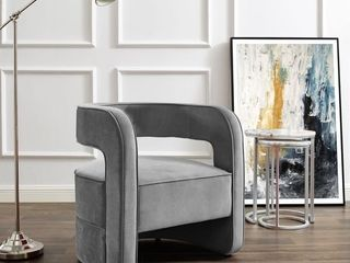 Carmelo Open Back Accent Chair   Grey Retail  481 49