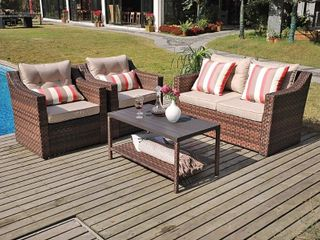 Sunsitt 4 Piece Patio Conversation Set 2 CHAIRS WITH DECORATIVE PIllOWS ONlY All Weather Retail   599 89
