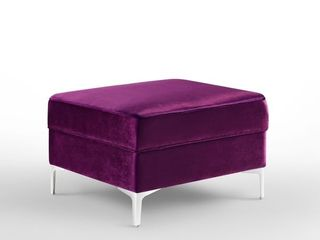 Inspired Home Dante Velvet Square Storage Ottoman  purple Retail  301 27