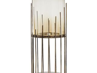Tall Smoked Gold Glass Candle Holder with Cylinder Metal Base  9 X 20   9 x 9 x 20  Retail 129 99
