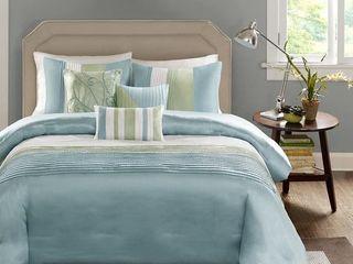 Madison Park Chester Green  Blue 7 piece Comforter Set  Retail 107 99