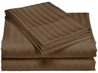 1200 Thread Count Deep Pocket luxury Hotel Stripe Cotton Bed Sheet Set Retail   54 82