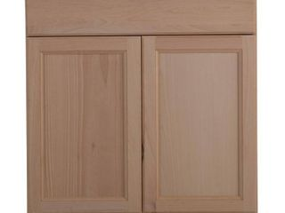 Hampton Bay Easthaven Shaker Assembled 30x34 5x24 in  Frameless Base Cabinet with Drawer in Unfinished Beech