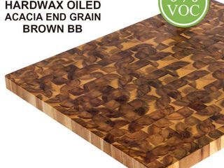 Interbuild Acacia 32 in  l x 25 6 in  D x 1 6 in  T Butcher Block Countertop in Brown Wood Oil Stain  Brown satin