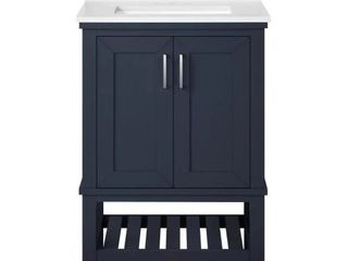 Tupelo 24 in  W x 19 in  D Bath Vanity in Midnight Blue with Cultured Marble Vanity Top in White with White Basin