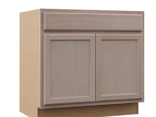 Hampton Bay Hampton Assembled 36x34 5x24 in  Sink Base Kitchen Cabinet in Unfinished Beech