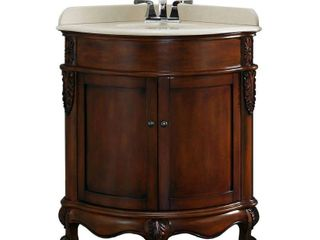32 75 in  W x 25 70 in  D Vanity in Dark Cherry with Marble Vanity Top in Cream with White Basin