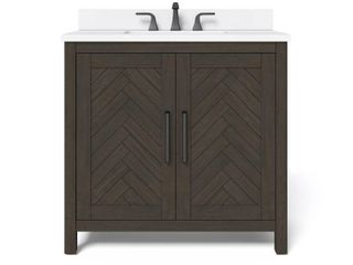 Home Decorators Collection leary 36 in  W x 34 5 in  H Bath Vanity in Dark Brown with Engineered Stone Vanity Top in White with White Basin