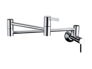 luxier Contemporary 2 Handle Wall Mounted Pot Filler in Chrome