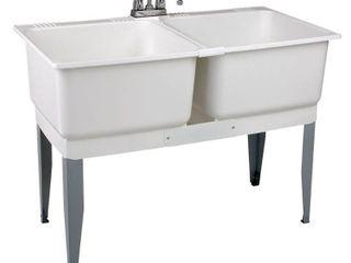 Mustee 24C Utilatwin Combo laundry Utility Tub Kit  White
