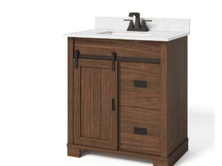 Glacier Bay Brindley 30in  W x 21in  D Barn Door Bath Vanity in Dark Walnut w  Engineered Carrera Vanity Top in White w  White Basin