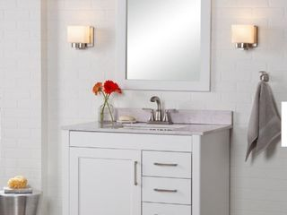 Home Decorators Westcourt 36 in  W x 21 in  D x 34 in  H Bath Vanity Cabinet Only in White
