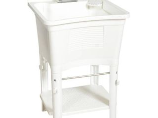 Glacier Bay Utility Sinks 24 in  x 24 in  Heavy Duty Polypropylene 20 gal  Full Feature with 4 in  Pull Out Faucet Freestanding laundry Tub White lT2007WWHD