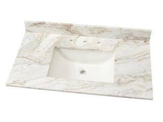 37 In  W Marble Single Sink Vanity Top In Arabescato Venato With White Sink