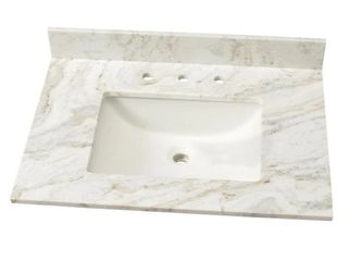 31 in  Marble Single Sink Vanity Top in Arabescato Venato with White Sink Retail  219