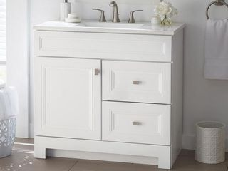 Home Decorators Collection Sedgewood 36 1 2 in  W Bath Vanity in White with Solid Surface Technology Vanity Top in Arctic with White Sink Retail  349