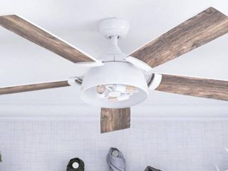 52  Prominence Home Octavia Indoor Industrial Modern Ceiling Fan with Remote  Bright White