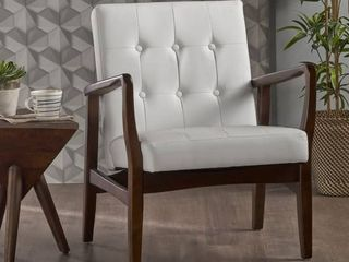 Christopher Knight Home   Marcola Mid Century Modern Faux leather Club Chair with Wood Frame