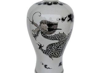 A B Home Dorete 24 inch Black and White Urn Vase